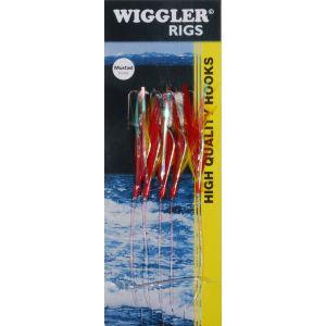 Wiggler Mackerel Feather med 3/0 krok röd/gul 5-pack