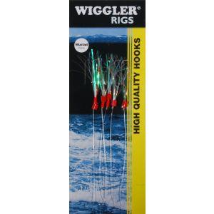 Wiggler Sillhäckla med 2 krok röd/grön/silver 5-pack