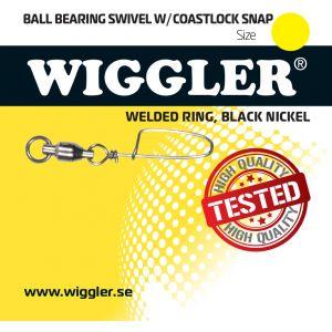 Wiggler Coastlock beteslås med kullagerlekande med lödd ring svart 2-pack