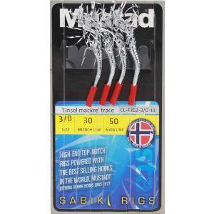 Mustad Tinsel Mackerel Trace med 3/0 krok silver/röd 4-pack